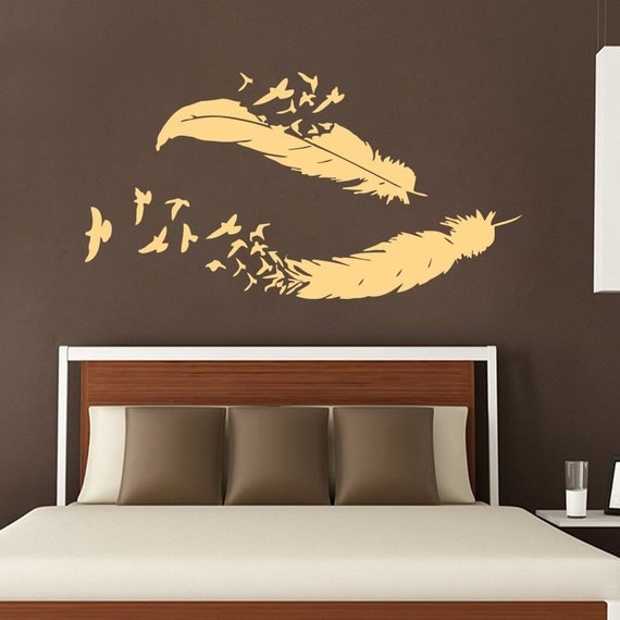 Birds wall decal feather vinyl stikers bird by for Bird wall mural