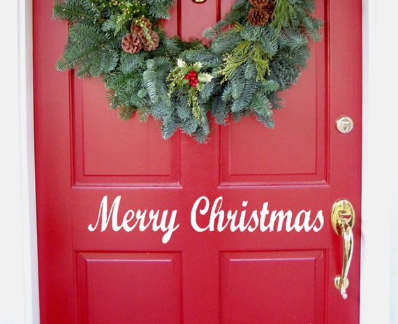 Merry Christmas Quote Wall Art Decal: Items Similar To Merry Christmas Vinyl Decal, Front Door