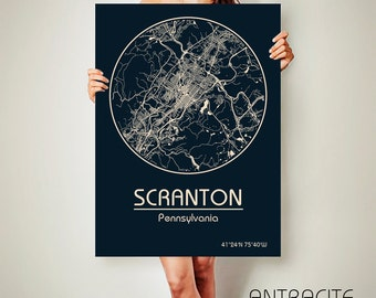 SCRANTON Pennsylvania CANVAS Map Scranton Pennsylvania Poster City Map Scranton Pennsylvania Art Print Scranton Pennsylvania