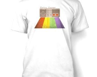 Retro Rainbow Controller mens t-shirt