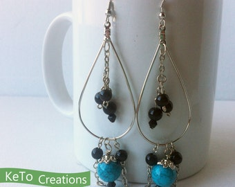 Black Beads and Turquoise Colored Beads and Chain Dangling Earrings, Black Beads Earrings, Turquoise Colored Beads Earrings