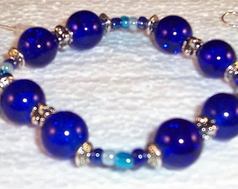 Cobalt Blue Bracelet, Metal bead caps, Metal spacers. Free Shipping