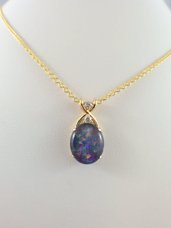 opal necklace pendant jewelry genuine australian large triplet