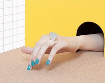 Modern Minimalist Sterling Silver Ring - Geometric Design - Contemporary - Secret Circle Ring - 60 Degrees