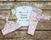 Hello World Tribal Baby Girl Outfit,Take Home Baby,Arrows,Baby Girl Going Home Set,Tribal Headband,Baby Girl Legging,Baby Hat,Newborn and up