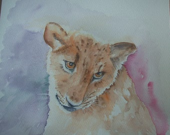 Watercolour painting of Lion Cub