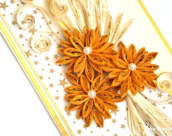 Christmas greeting card/ Quilling card/ Gold and white/ Xmas card/Elegant Christmas card/ 3d card/ 3d Christmas  card