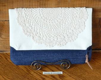 Vintage Inspired Evening Bag, Lace Doily Purse, Women's Evening Clutch, Fold Over Women's Purse, Jean & Doily Handbag