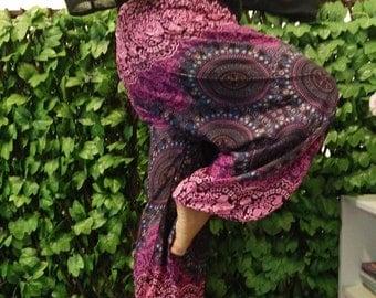 PLUS SIZE (XXL) hippie pants hobo pants flower pants in pink