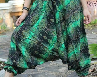 Harem pants drop crotch pants hippie pants hobo pants feather green