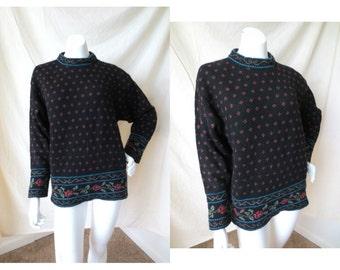 Vintage 100% Laine Wool Floral Laura Ashley Sweater // Turtleneck Mock neck // Size Medium to Large // Made in Scotland