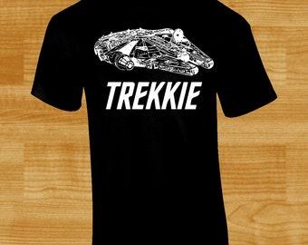 Ironic Trekkie T-Shirt w/ Millennium Falcon