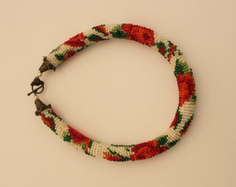 "Roses Bead Crochet handmade Necklace 19"""