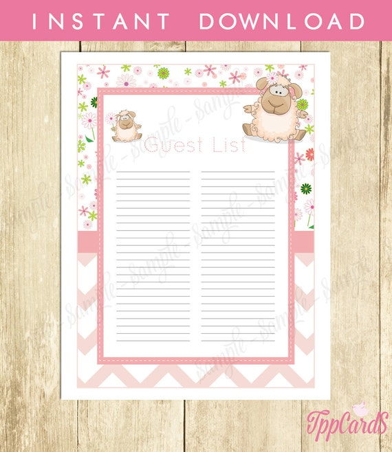 lamb baby shower guest list lamb baby shower list baby shower sign