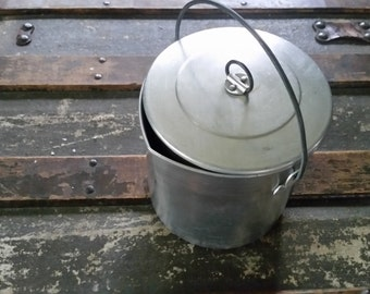 Tin or aluminum pitcher small, vintage metal pitcher