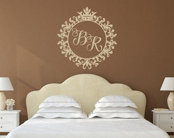 Family Monogram Letters Wall Decal  Two Letter Monogram Decal  Framed  Monogram Initial For Wall Part 75