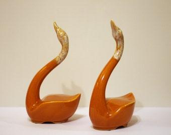 Beautiful Ceramic Swan Statue Set - Ornate Vintage Swans