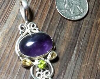 Sterling Silver Amethyst, Citrine, & Peridot Pendant