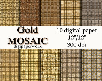 Gold mosaic Digital Paper Digital mosaic background gold mosaic pattern for Personal and Commercial use