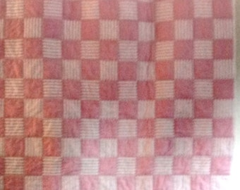 40 % Off - Pink & Cream Lap or Nursery Quilt, Wall Hanging, or Table Topper