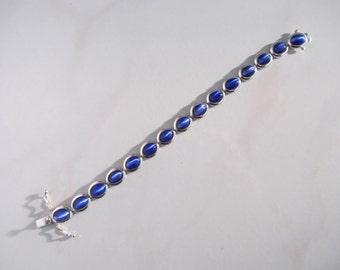 Sterling Silver Blue Cats Eye Bracelet Looks Fabulous with Denim