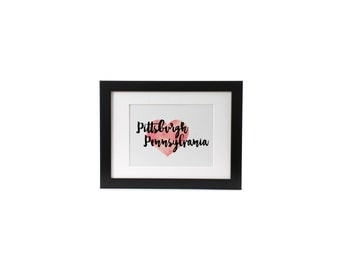 Pittsburgh Love, Pennsylvania, Printable Art, Instant Download, Wall Art, Home Decor, Office Decor, 8x10, Watercolor Heart
