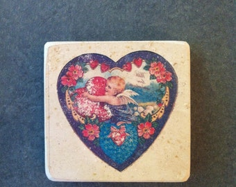 Lithographic stones emblazoned with heart