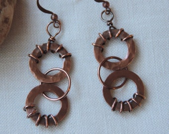 Textured Copper Earrings/Antiqued Hammered Copper Washer Earrings/Copper Washers and Ring Earrings/Triple Hoop Copper Earrings