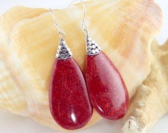 Sterling Silver, Red Coral Earrings, Bohemian Style - #est528