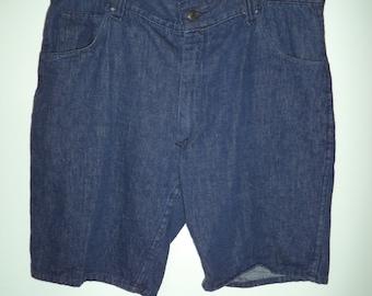 70s punk grandpa denim hipster jean shorts// Vintage 1970's Kmart// Soft long blue cotton// Men's size 34 W 35 W