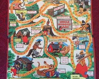 Vintage 1954 Uncle Wiggily Game Board ONLY - Milton Bradley