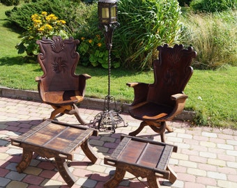A Unique Antique Solid Wood Furniture Complete set of two chairs and two coffee tables. Hammered. Hand made.Ornate furniture.Teak Furniture