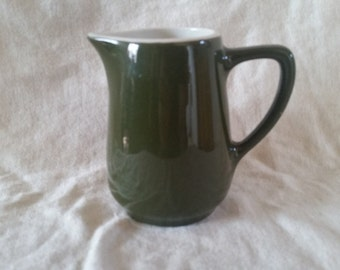 creamer by hall in dark green/hall creamer/green creamer/creamer/hall pottery