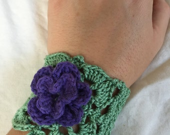 French Square Wrist Cuff with Large Flower