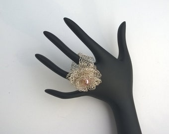 silver wire crocheted ring