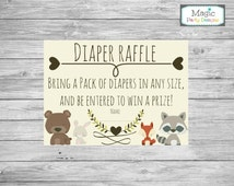 Woodland baby shower diaper raffle tickets printable, Diaper raffle cards, Animal diaper raffle insert cards