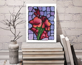 Gladiolus Art Print - Brilliant Red Abstract Flowers on Light Purple Background - Wall Art - 8 x 10 inch size - Signed by Artist Kathy Lycka