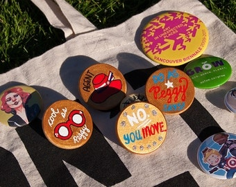 """Marvel Agent Peggy Carter """"No You Move"""" Feminist Quote - Original Custom Hand Painted Wooden Brooch Pin Badge Button - Unique Novelty Gift"""