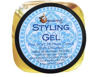 Organic Styling Hair Gel,  African American Hair,soft defined curls, never stiff or sticky. removes split ends, adds shine, silk amino acids