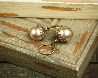 Champagne Acorn Earrings with Swarovski Pearls, Casual and Unique! Handmade Gifts for Her