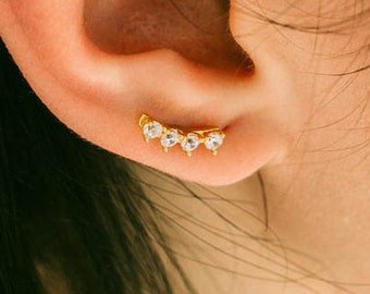 CZ bar earrings, Crown Ear Jacket,bar Ear climber,cartilage bar earring,silver line earring,helix earring,delicate earring,cartilage earring