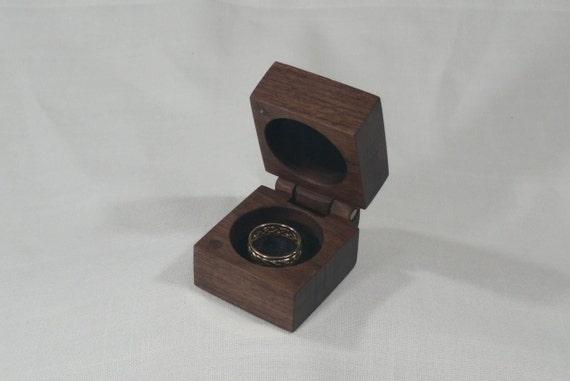 Hinged Black Walnut Ring Box