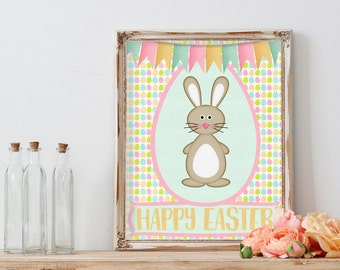 Easter Printable, Happy Easter, Easter Bunny, Wall Art, Instant Download, Happy Easter Print, Easter Decor, Easter Art, Easter Print, Spring