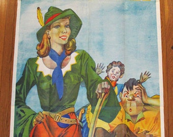 Large Antique 3 Sheet Art Deco Jack & The Beanstalk Theater Poster Featuring a Blonde Pin-Up Beauty in Stone Lithography Rare