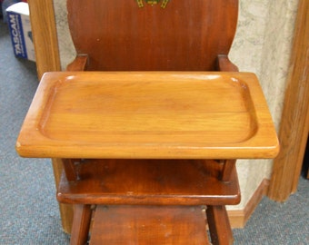 Vintage Baby High Chair, Infant High Chair, High Chair, Wooden High Chair