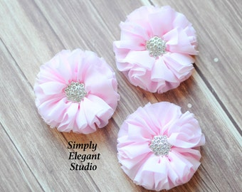 "Light Pink Chiffon Flowers, 2.5"" Fabric Flowers, Rhinestone Ruffled Flowers, Craft Supply Flowers"