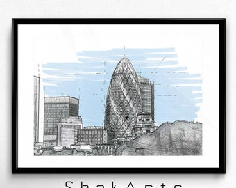 Architectural sketch, Architectural prints, Architectural drawings, architecture blueprints, London buildings, Modern architecture