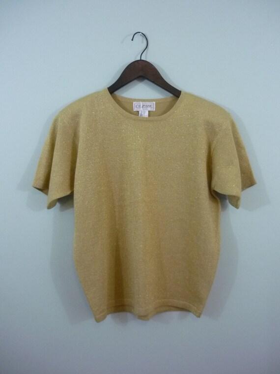 SALE! / 1980s Metallic Gold Lightweight T-shirt Style Sweater / Oversized Medium-Large / Plus Size XL-XXL