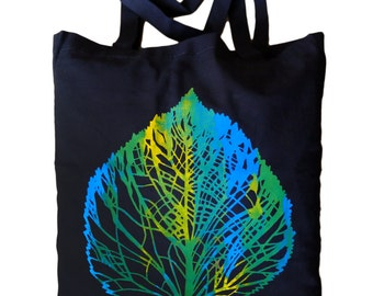 "Jute bag ""LAN"" blue green yellow on black, screen printing"