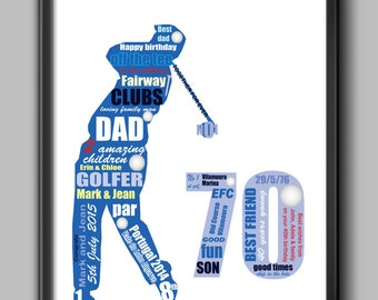 70th birthday gift  for golfer, 70th birthday for dad, personalised gift for dad, husband or friend, A4 and framed